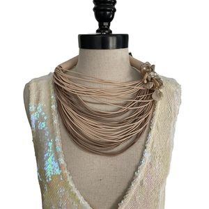 Abalone Flower With Crystals Multi Strand Necklace